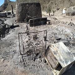 آتش سوزی در روستای بیچند شهرستان سرباز